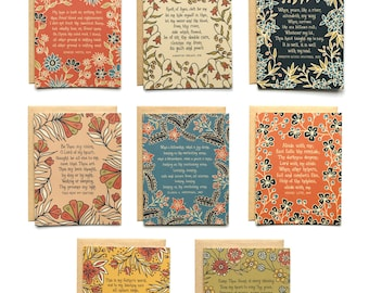 Floral Hymn Greeting Cards and Envelopes Set of 32 15% off, come thou fount, it is well, abide with me, sympathy card, floral hymn card