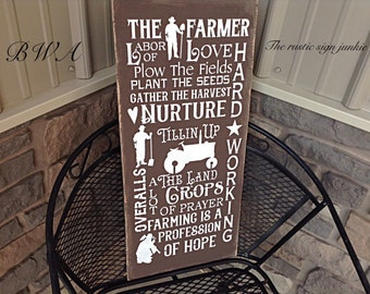 Rustic farm sign, farm signs, farming rules sign, farmhouse sign, rustic farm signs, he farmer sign. Primitive farmer sign, farmer gifts