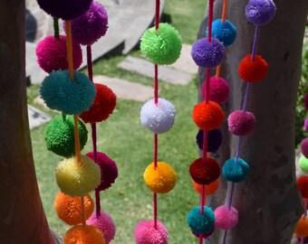Pom Pom Garland | Pom Pom String | 1.50m / 5ft Multicoloured Pom Pom Bunting | Wool Pom Pom Garland | Yarn Pom Pom Garland
