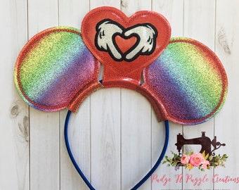 Rainbow love mouse ears