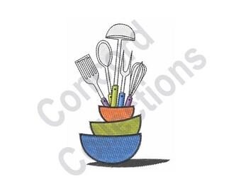 Kitchen Utensils Machine Embroidery Design