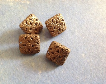 Set of four vintage 50s - 60s square buttons