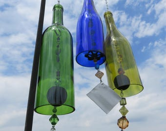 Recycled Colored Wine Bottle Wind Chime, Gift for Her, Porch Decoration, Outside Wind Chime, Garden Art