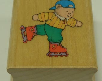 Roller Blading Bear Wood Mounted Rubber Stamp From Hero Arts C 720