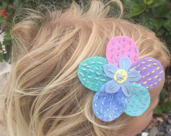 The Chloe Embroidered Felt Hairclip