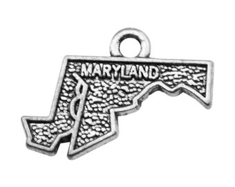 4 Maryland State Charms, Antique Silver Tone (1A-138)