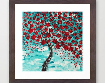 Framed Art Print, Cherry Blossom Tree Painting, Gifts, Abstract Giclee Print, Red Teal Turquoise Living Room Art Home Decor Contemporary Art