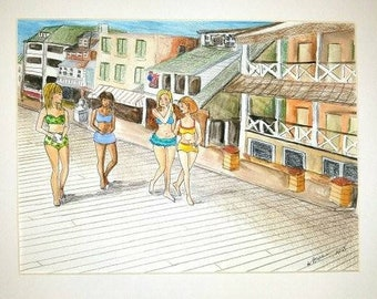 """Sisters and Friends, a colorful original watercolor, ink and pencil 8.5"""" x 11"""" in 12"""" x 16"""" mat."""