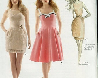 Misses Special Occasion Dress Pattern Simplicity 1353 Leanne Marshal Sun Dress Sweetheart Neckline Size 4 to 12 OR 12 to 20