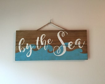 By the Sea - small wooden pallet sign with wave design