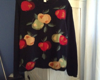 Northern Isles Pullover Sweater with Watercolor Fruits, Size Small.