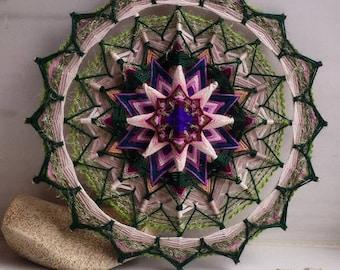 Thistle - Woven Yarn Mandala Ojo de Dios Eye of God - wall hanging 10' Home Art Cafe Yoga Meditation Spa Interior decor