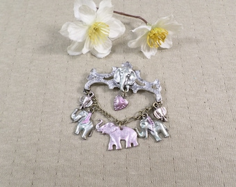 Vintage Silver Tone Dangle Chain Brooch With Elephant Charms DL# 4567