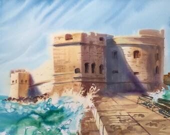 Original. Watercolor. Landscape. Dubrovnik, Croatia.
