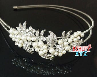 Silver Wedding Crystal pearl Headband hair piece for party #4