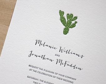 Letterpress Wedding Invitation - desert cactus - arizona plants, Letterpress Wedding Invitation