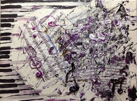 Abstract Music Notes Art: Music Note Art Musical Abstract Piano Key Painting Sheet Music
