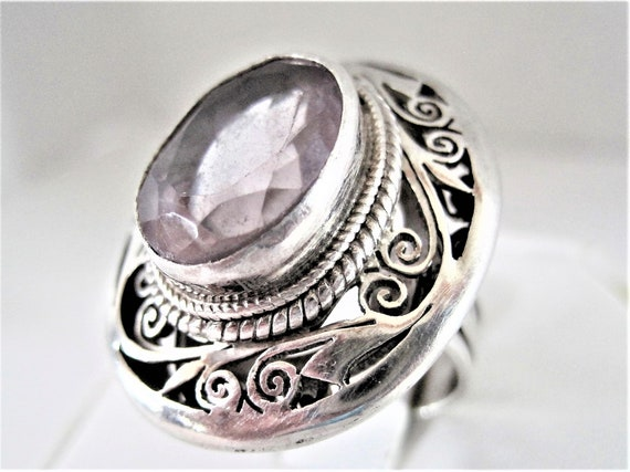 Sterling Amethyst Ring, Faceted Rhinestone,  Vintage Large Stone, Wide Band,  Size 7