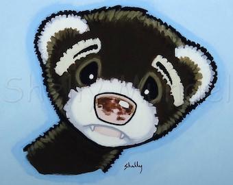 Personality Study- Ferret Art Print - by Shelly Mundel