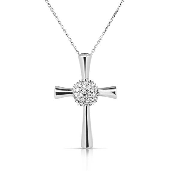 Diamond cross pendant necklace 14k white gold cross women diamond cross pendant necklace 14k white gold cross women cross pendant religious jewelry 033 ct diamond necklace charm gold pendant aloadofball Image collections