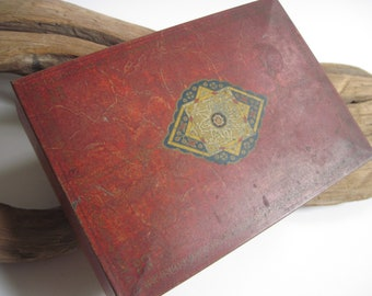 Vintage Burgundy Tin  Box Container With Patterned Center