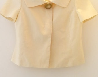 Vintage Cream Cropped Short Sleeve Summer Occasion Jacket Size 10 UK 6 US Ivory, Champagne, Wedding Outfit, Wedding Guest, Large Collar