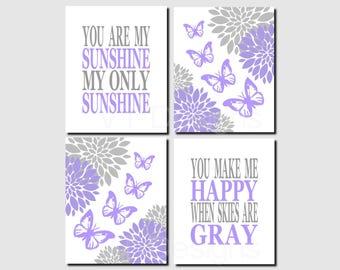 Purple Gray Wall Art, Butterfly Nursery Wall Art, Baby Girl Nursery Decor, Toddler Girl, You Are My Sunshine, Song Lyrics,Printable,Set of 4