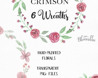 6 Watercolour Red Rose Crimson Floral Wreaths Clipart INSTANT DOWNLOAD Wedding Leaves Hand-painted Blooms Garlands Clip Art PNGs Digital