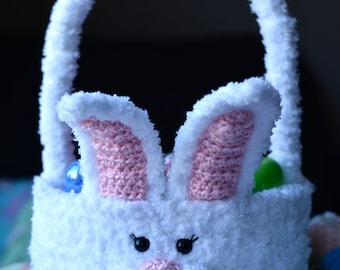"Crochet Pattern: ""Cottontail"" Easter Bunny Basket, Permission to Sell Finished Items"