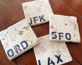 Natural Stone Coaster Set - Traveler Airport Code Edition