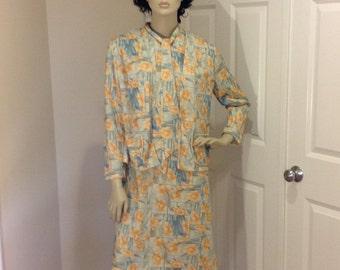 Vintage handmade daffodil dress with jacket OOAK