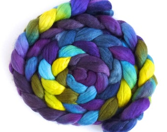 New Day, Finn Wool Roving, Hand Painted Spinning or Felting Fiber
