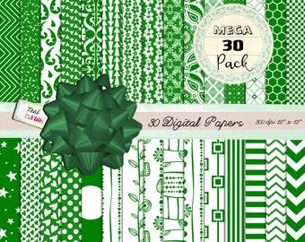 30 MEGA PACK Digital Papers in Forest Green  (dots, chevrons, damask ets) for Digital Scrapbooking