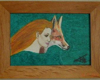 FOX AND WOMAN in drawing under glass frame