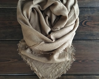 Classic Camel Monogrammed Blanket Scarf