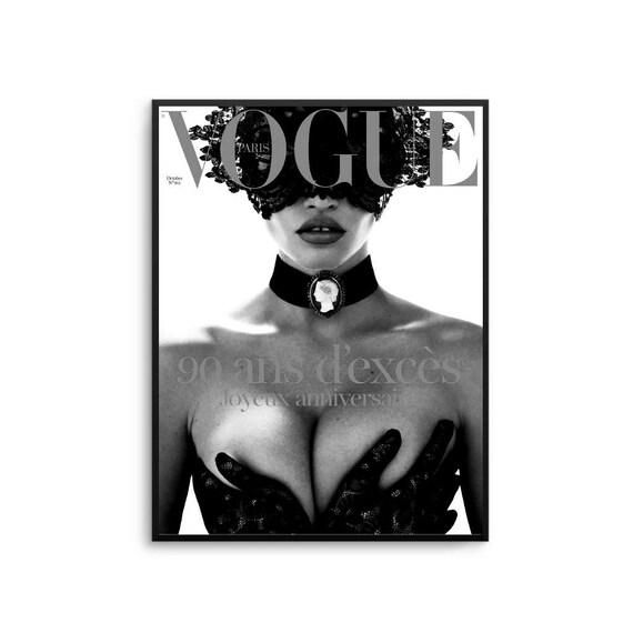 Vogue paris lace print poster black and white fashion vogue