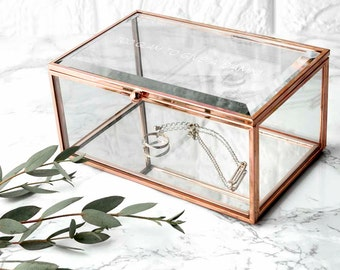 Personalised Rose Gold Glass Jewellery Box - Gift for Her - Dressing Table Storage - Mother's Day - Gift For Wife - FREE UK DELIVERY