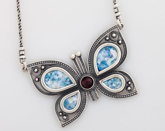 Butterfly Woman 925 Sterling Silver Ancient Roman Glass Necklace Original Gift