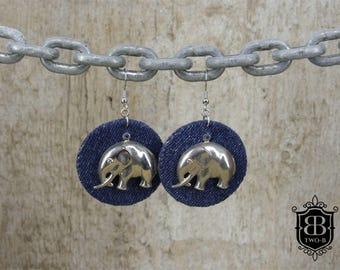 Earrings earrings made of Denim Jeans with elephant