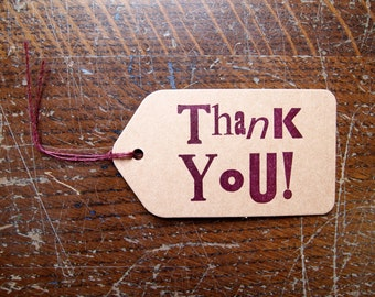 Thank You letterpress gift tags - pack of 6