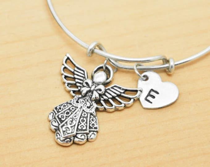 Angel Bangle, Sterling Silver Bangle, Angel Bracelet, Bridesmaid Gift, Personalized Bracelet, Charm Bangle, Monogram, Initial Bracelet