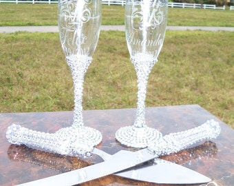 Flutes and Cake Server set.....Lots of  Bling...Bride and Groom, Mr & Mrs., Champagne Toasting Rhinestone Flutes, Wedding Glasses
