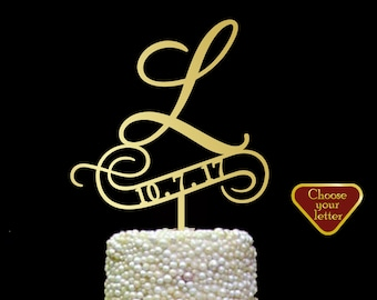 l cake topper, cake toppers for wedding gold, wooden letters topper, rustic cake topper silver, letter cake topper, cake topper l, CT#205