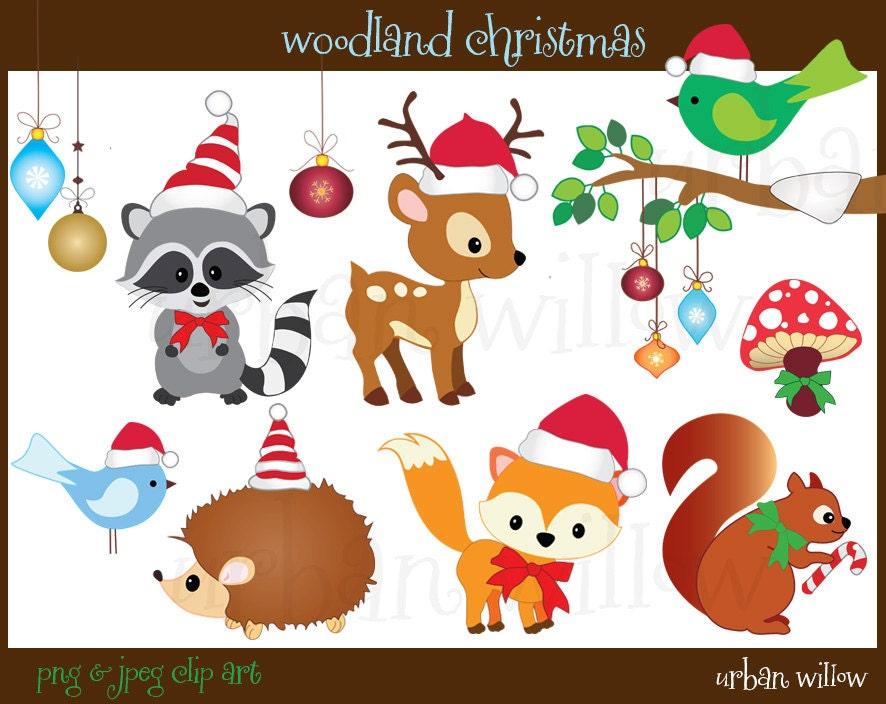 Christmas Animals Clipart Cute animals Clipart Digital