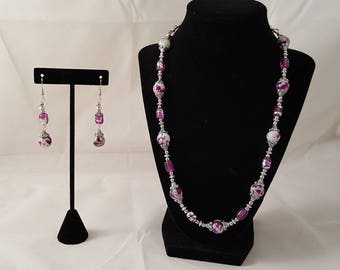 Pink & Silver Jewelry Set - Pink Necklace - Silver Necklace - White Necklace - Pink Dangle Earrings - Pink Earrings - Silver Earrings - Pink