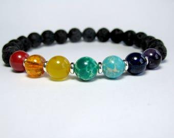 Lava Chakra Bracelet, 7 Chakra Bracelet, Mala Bracelet, Wrist Mala, Yoga Bracelet, Yoga Gift, Reiki Bracelet, Protection Bracelet