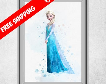 Frozen Elsa Print, Disney Princess Elsa, Princess Elsa Nursery Decor, Frozen Kids Room Wall Art,  Watercolour Disney Classic, Free Shipping