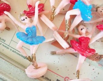 Kitschy / Plastic Ballerina Cupcake Toppers / One Dozen
