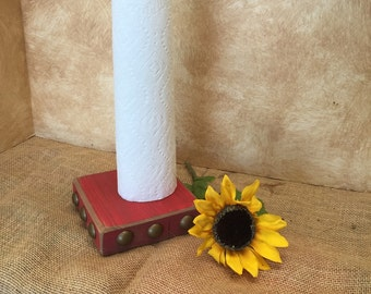 Rustic wood paper towel holder