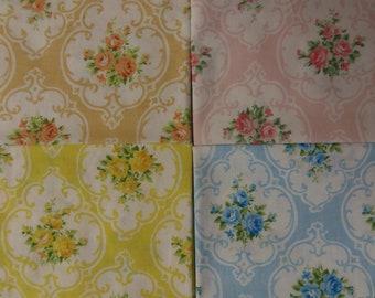 Cameo Roses Fat Quarters Bundle  4 Pcs Vintage Tastemaker Sheet Fabric sewbuzyb sst